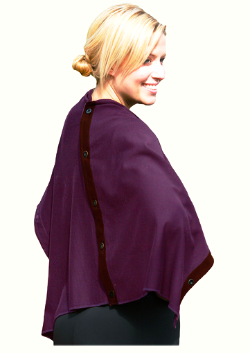 Organic cotton Poncho, Cape - Marsala