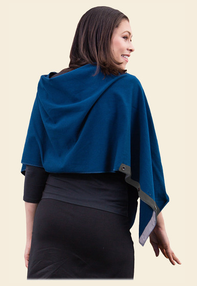 Organic cotton Poncho/ Cape - Blue