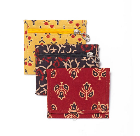 Block-Printed Cotton Tri-fold Wallets with zipper change pouch