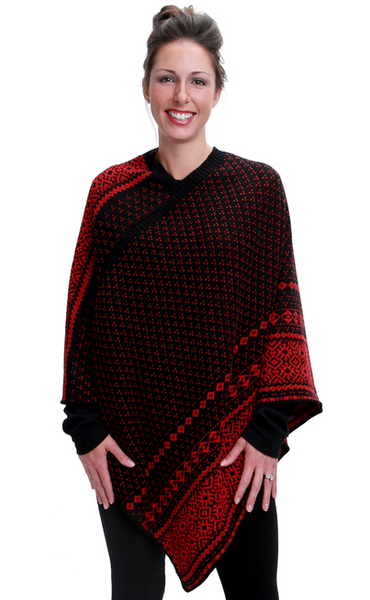 Nordic Stripe Poncho - Recycled Cotton - Black & Red
