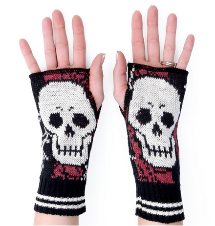 Skull Handwarmers / Skull Mittens - from recycled cotton