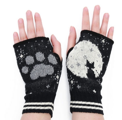 Cat Moon Handwarmers - recycled cotton