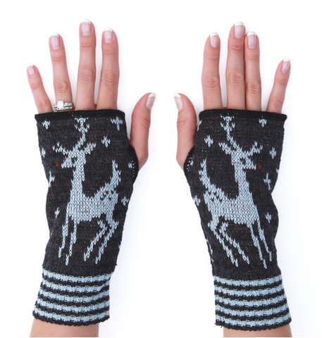 Deco Deer Hand warmers/mittens - recyled cotton