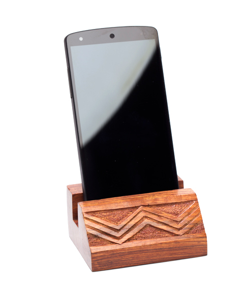 Carved Wooden Phone Cradle