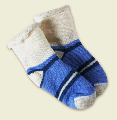 2-Pak Super Soft Organic Wool Infant or Todder Socks- Blue or Purple