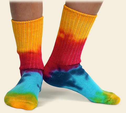 Tie-dyed organic cotton kids organic cotton socks-ages 2.5 to 10