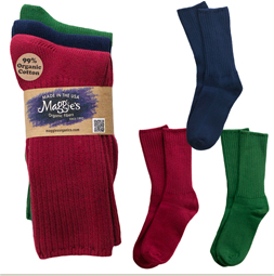 Organic cotton Crew Socks, Maggie's Organics, Tri-pack Raspberry, Forest, Navy
