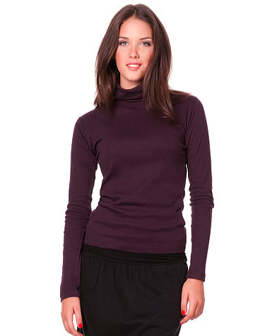 Lightweight 100% Organic Cotton Turtleneck, Aubergine