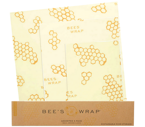 Bee's Wrap 3-Pack S, M, L in Beehive Print - Sustainable Food Wrap