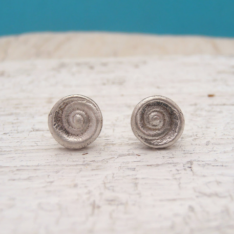 Snailshell recycled silver stud earrings, Sustainable Jewelry | Upland Road Eco-Boutique