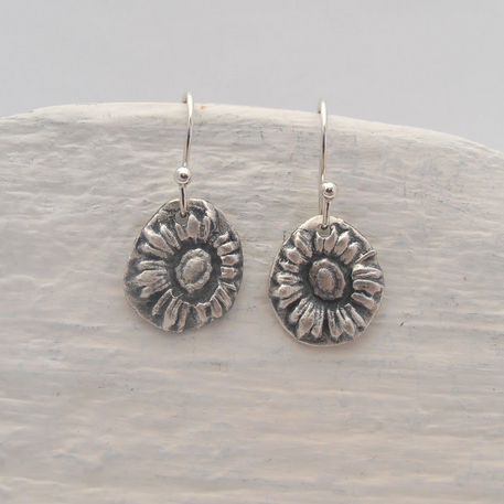 Sustainable Silver Sunflower Earrings, Eco-friendly Jewelry