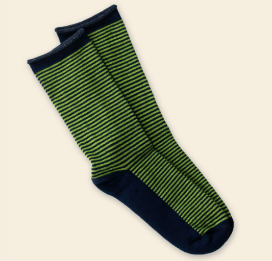 Green and Navy Striped Cushion Crew Organic Cotton Socks