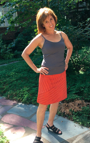 Organic Cotton Bias Cut Skirt - Tangerine Stripe, Kaikias Camisole