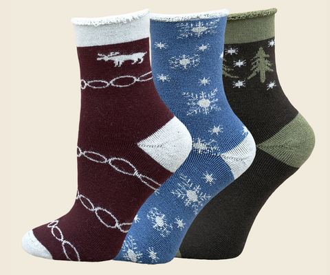 Moose, Snowfall and Forest Organic Wool Snuggle Socks