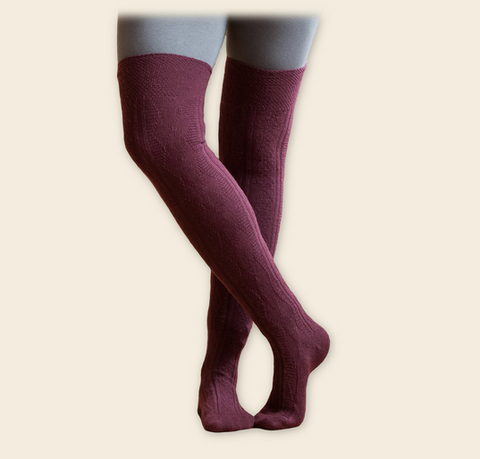 Cable-Knit Over-the-Knee-Socks - Organic Merino Wool