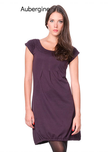 Eggplant Sharav Organic Cotton Dress with scoopneck and shoulder detail-Aubergine