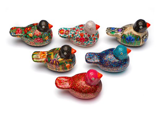 sustainable hand-painted bird jewelry boxes - compostable