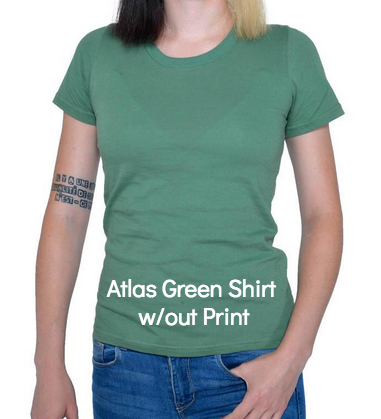 Atlas Green Organic Cotton Women's t-shirt (comes imprinted with Human Being graphic)