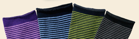 Organic Cotton Socks-Striped Cushion Crew by Maggie's Organics