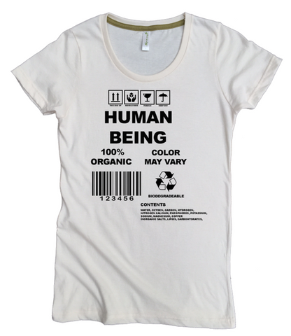 Human Being 100% Organic Cotton T-shirt for Women - Natural, undyed cotton and eco-friendly ink