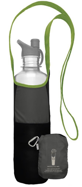Bottle Sling from recycled materials, lime green and grey