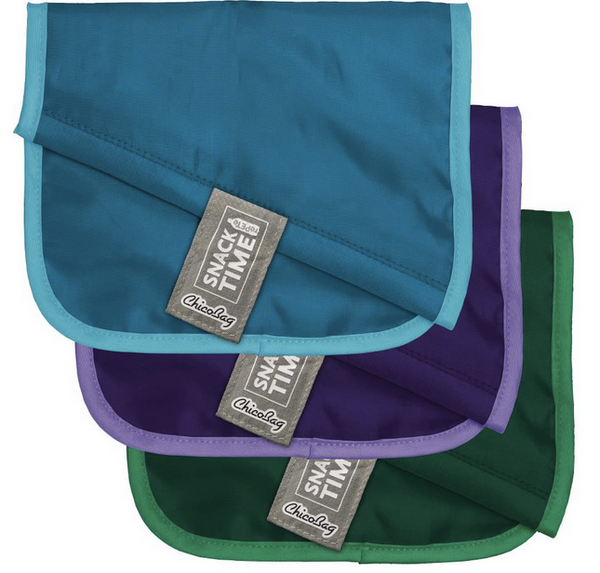 "Set of 3 Snack Time Reusable ""RePETe"" Bags- Aqua, Purple & Green"