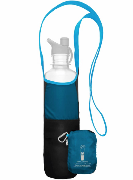 Adjustable Bottle Sling from recycled materials, aquamarine blue