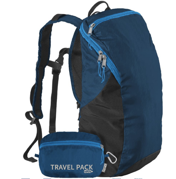 Sustainable Day pack, stuffs into its own pocket - Poseidon Blue