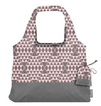 Vita Bag Pink/Grey Geometric - Reusable Shopping Bag