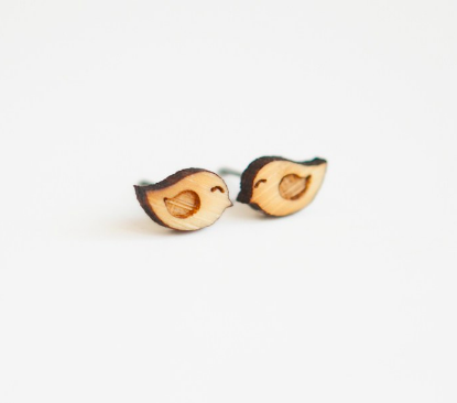 Love bird wooden earrings Bamboo