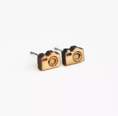 Camera Wooden Earring Studs