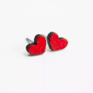 Red Heart Wooden Earring Studs