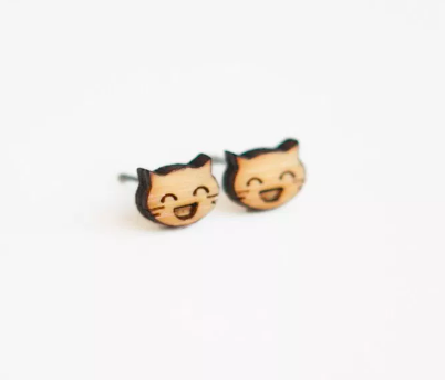 Really Happy Cat Wooden Earring Studs