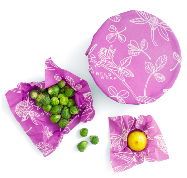 Bee's Wrap Reusable Food Storage Wraps | 3-Pack S, M, L - Choose from 3 Prints: Honeycomb, Purple Clover, or Teal Geometric