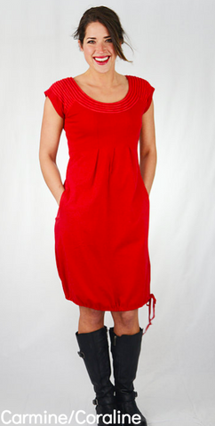 Sharav Carmine Red Dress with Coraline Trim