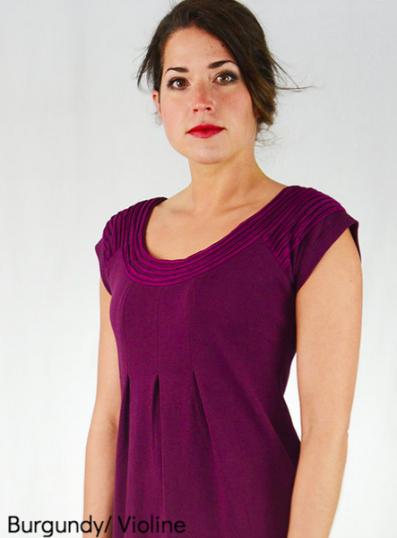 Burgundy Sharav Dress in with Violine Trim