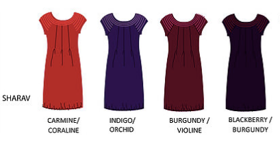 Sharav Dress with contrasting trim - Organic Cotton  - Burgundy/Violine • Indigo/Orchid • Blackberry/Burgundy • Carmine Red/Coraline