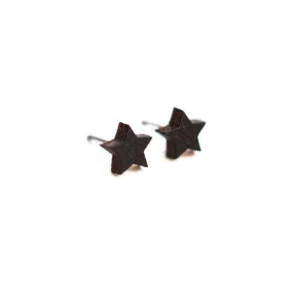Black Star Wooden Earring Studs