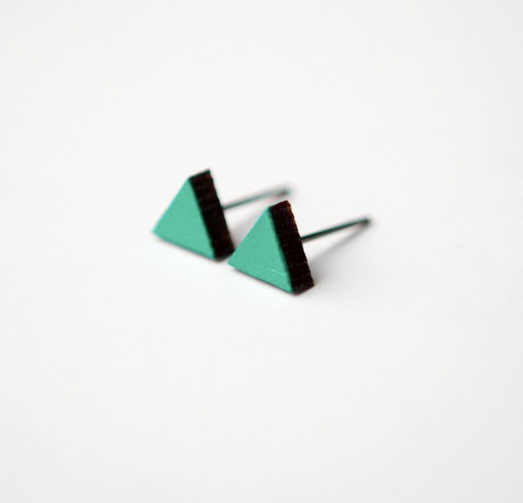 Teal Triangle Sustainable Wooden Stud Earrings, with black edges