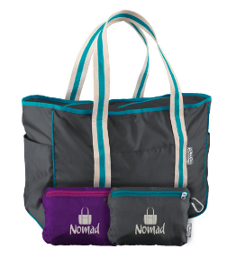 Nomad Tote Bag in Grey or Purple stuffs into its own interior zipped pocket for easy storage