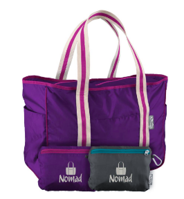 Nomad Tote Bag in Purple stuffs into its own interior zipped pocket