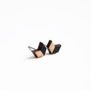 Chevron Wooden Earring Studs