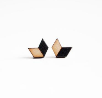 Chevron earrings, half tan, half black - wooden