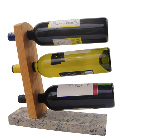 Tabletop Wine Rack - Reclaimed Granite and Sustainably Harvested Cherry Wood