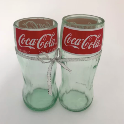 Set of 2 Upcycled Coca-Cola Bottle Drinking Glasses