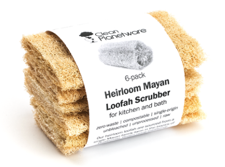 Single Loofah Gentle Scrubber - for Kitchen & Bath, Natural Heirloom Mayan