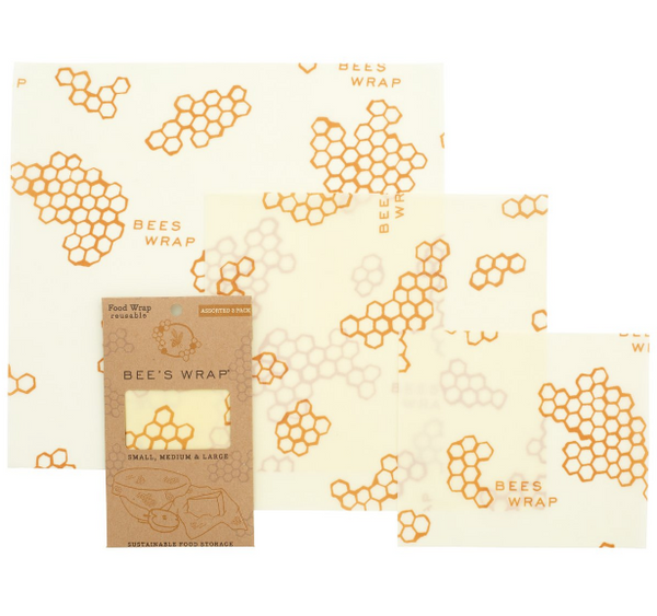 Bee's Wrap Sustainable Food Wrap - 3 Pack S, M, L  Honeycomb Print