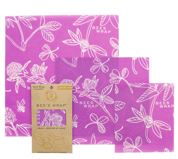 Bee's Wrap Reuseable Sustainable Food Wrap- 3-pack S,M,L | Purple Clover