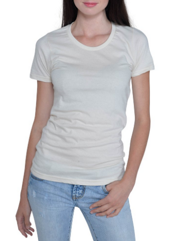 Organic Cotton Scoop Neck T-shirt in Carmine Red or Undyed Natural