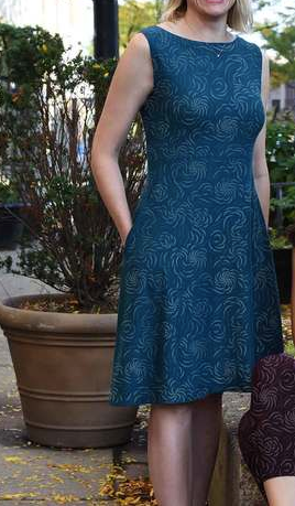 Organic Cotton Swirl Print Dress - in Black, Aubergine or Teal - Reversible Boat- or V-Neck